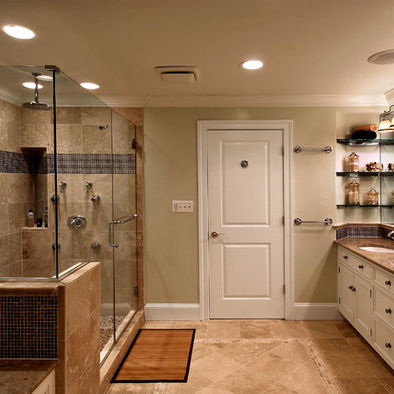 a taupe and beige bathroom with touches of creamy and rich-colored wood plus black