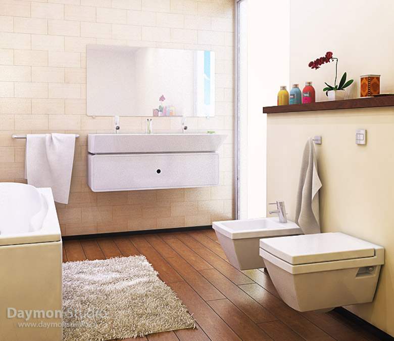 a beige and creamy bathroom with a rich colored woodem floor, off white appliances