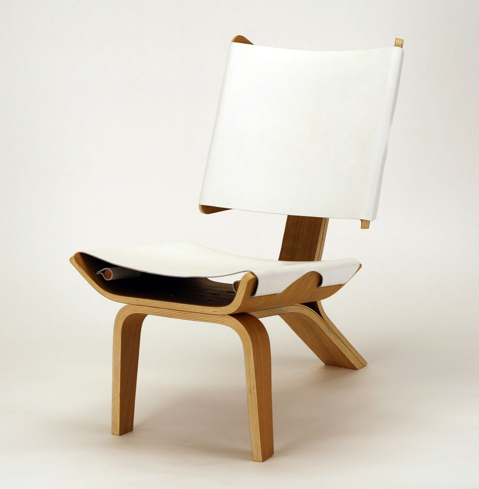 aesthetically brilliant chair made of bent plywood and leather digsdigs. Black Bedroom Furniture Sets. Home Design Ideas