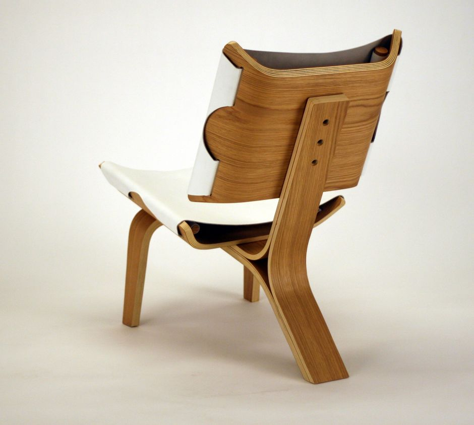 Bent Plywood And Leather Chair