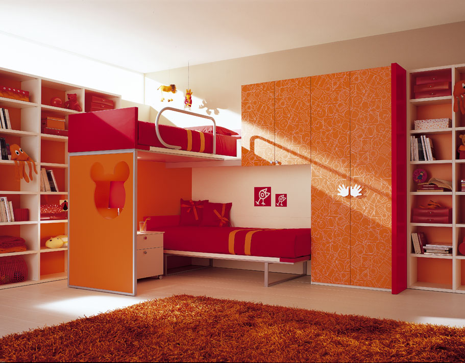 29 bedroom for kids inspirations from berloni digsdigs for Bunk bed bedroom designs