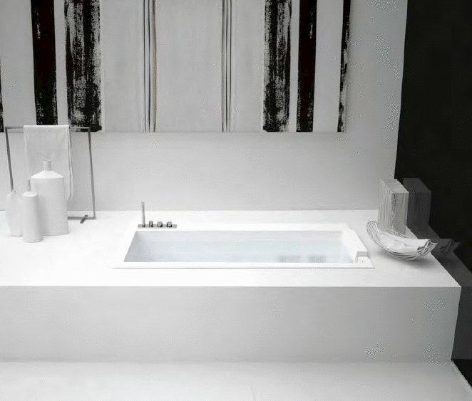 Minimalist Bathtubs in White Corian – Biblio from Antonio Lupi