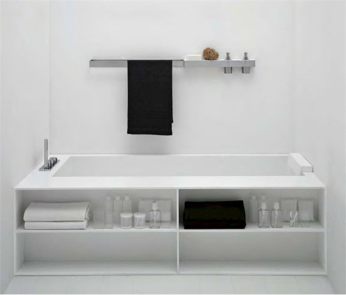 baignoires minimalistes en corian blanc biblio de antonio lupi decora idees. Black Bedroom Furniture Sets. Home Design Ideas