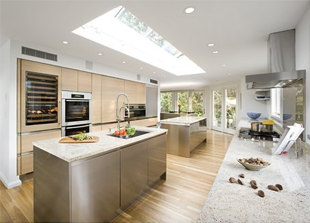 Beautiful design of big kitchen in natural colors digsdigs for Huge kitchen designs