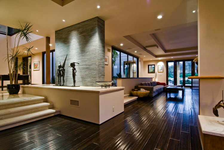 Big Contemporary House With Dark Interior Filled With