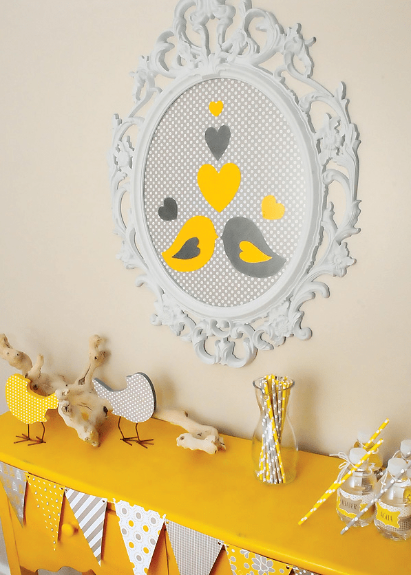 bird wall art for a gender neutral baby shower