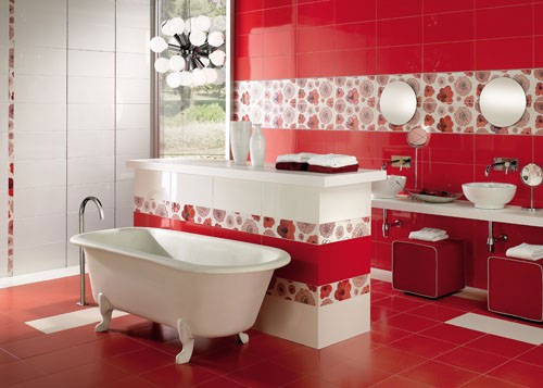 Birght Red Bathroom