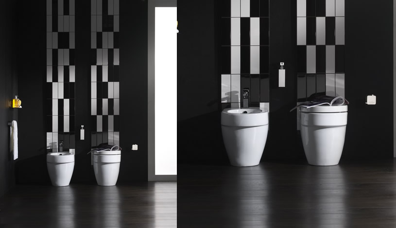 Black and white bathroom design inspirations digsdigs for Monochrome bathroom designs