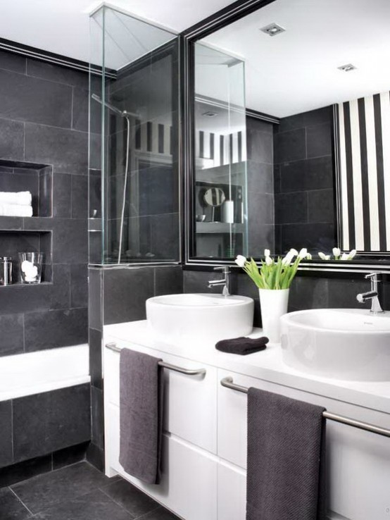 adding some greenery even faux one would make a black and white interior less - Bathroom Ideas Black