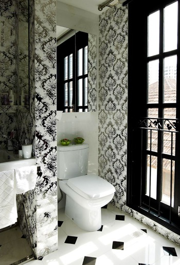 Tiles with interesting patterns could help to zone your bathroom better.