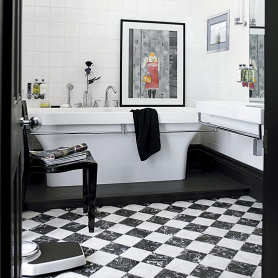 51 cool black and white bathroom design ideas digsdigs for Black white bathroom set