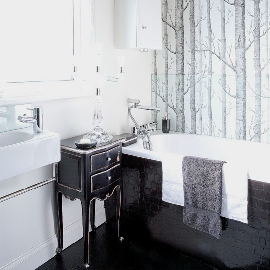 Black And White Bathroom Design Ideas · If You Arenu0027t Against Using A  Wallpaper In A Bathroom Then You Have Much