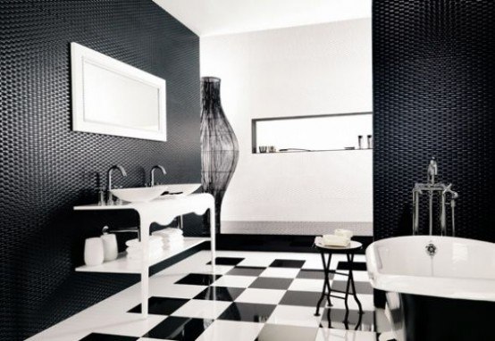 black white bathrooms checked floors would great for bw interiors - Bathroom Tile Ideas Black And White