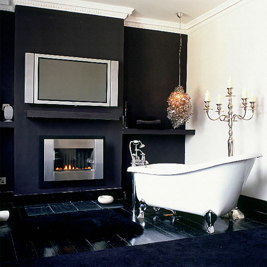 Black And White Bathroom Design Ideas · If You Like To Relaxing In A Tub  After A Hard Day Then A Simple Fireplace