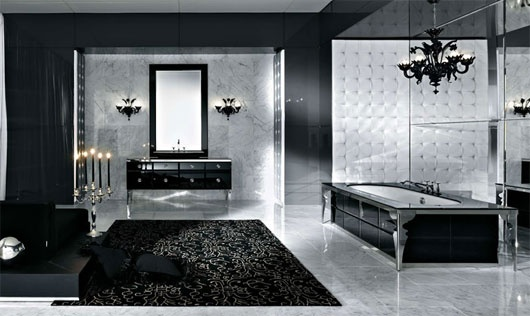 This is a beautiful luxurious bathroom design done in black and white color theme. Even though not many people have that spacious bathrooms you can still learn how to mix these colors well.