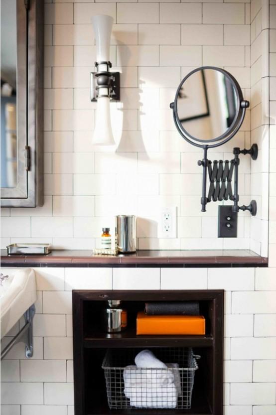 Black And White Bathroom Design With A Retro Vibe