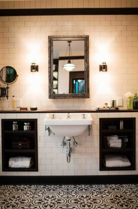 Black And White Bathroom Design With A Retro Vibe