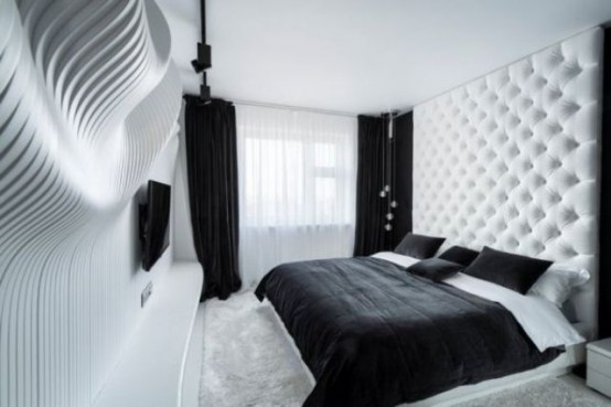 Black And White Bedroom Design Featuring A Sculptural Wavy Wall