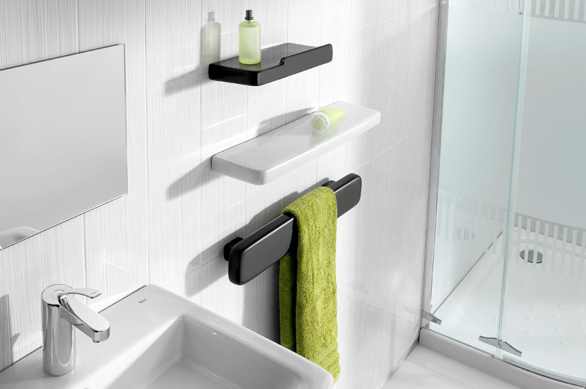 Spectacular  accessories which design embodies latest aesthetic trends The line includes towel rails hangers toilet brush and toilet paper and so on