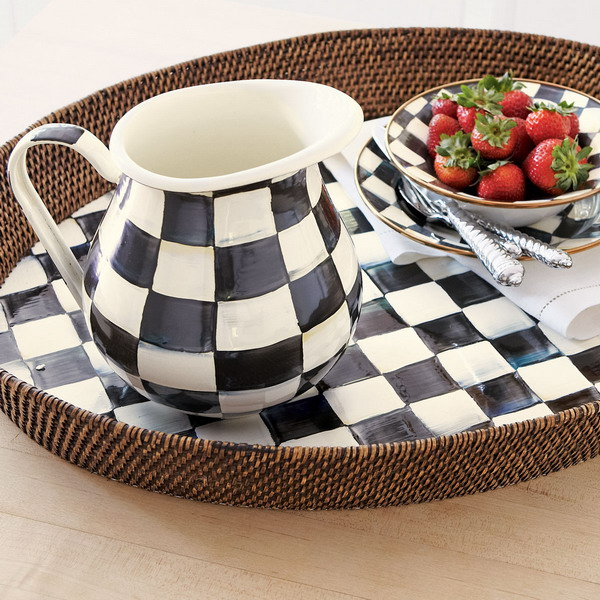 Black And White Courtly Check Tableware And Textile Collection