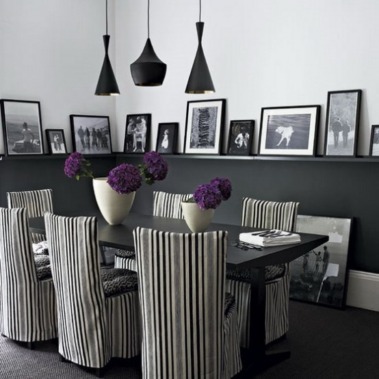 21 Black And White Traditional Dining Areas