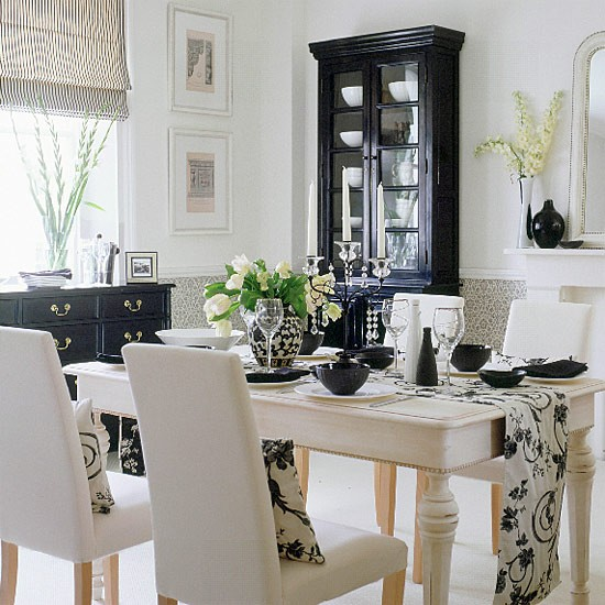 Black And White Dining Areas