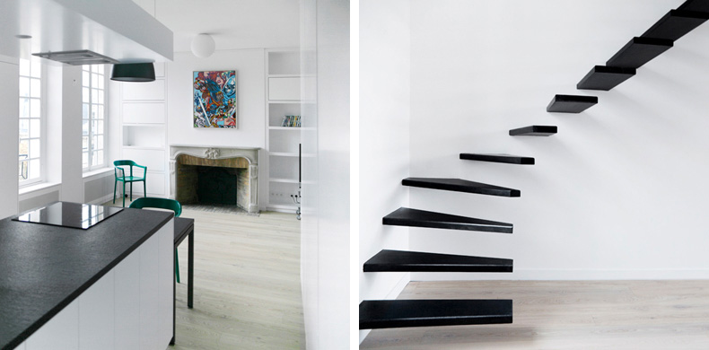 Black And White Flat Interior Design With Amazing Steel