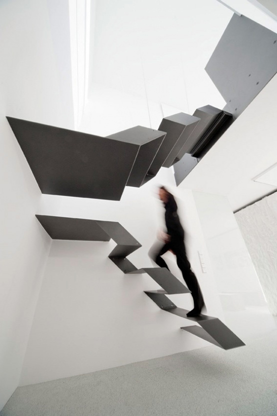 Black And White Floating Staircase
