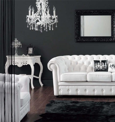 21 black and white traditional living rooms digsdigs for Comedor waterdog royal house