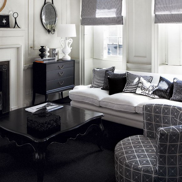 21 black and white traditional living rooms digsdigs - Black and white and grey living room ...