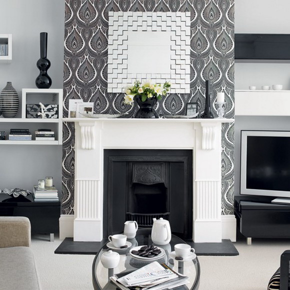 21 black and white traditional living rooms digsdigs for Grey wallpaper living room ideas
