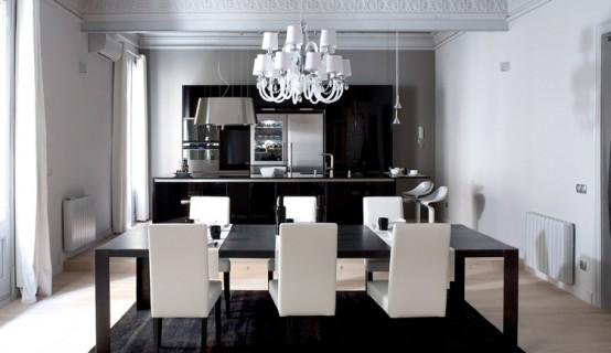 Strict Black and White Apartment Interior Design – Loft en el Gotico