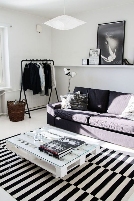 black and white loft with this awesome rug