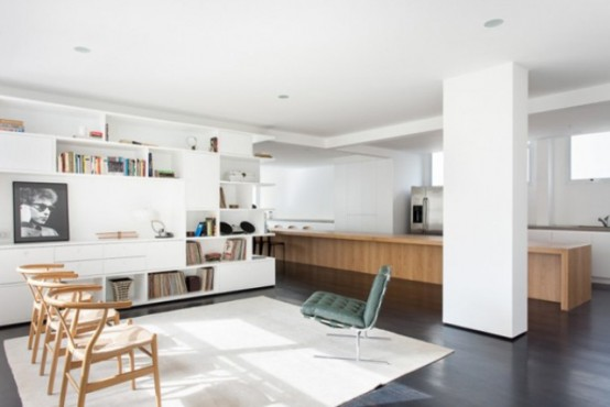 Black And White Minimalist Apartment With Warm Wood Inserts
