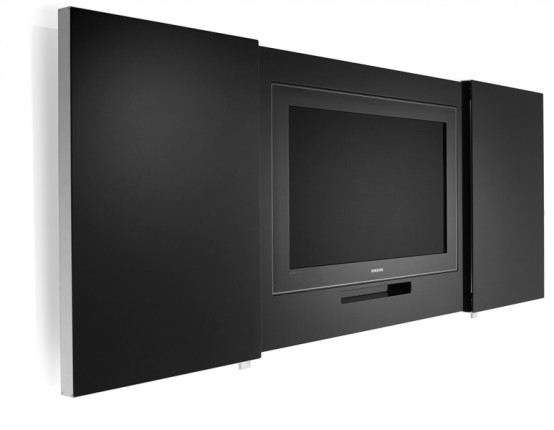 Black Tv Stand Archives Digsdigs - Creative-side-system-for-fans-of-a-fashionable-black-and-white-color-theme-by-fimar