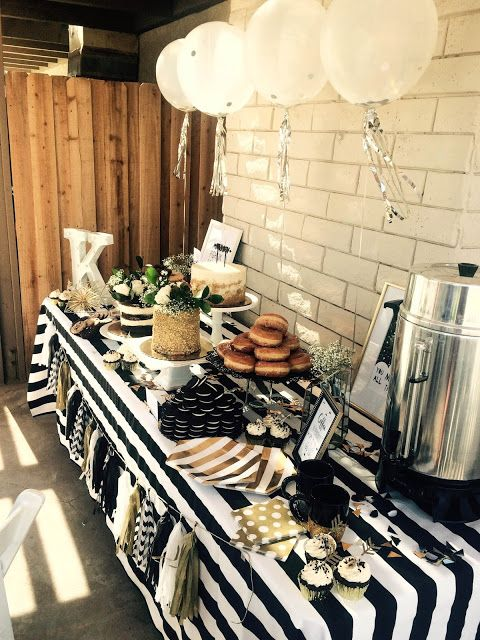 black and white modern baby shower