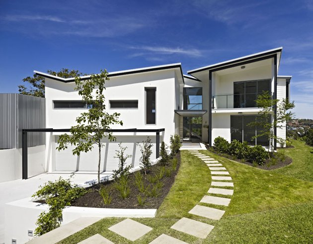 Black and white two pavilions house design digsdigs for White design homes