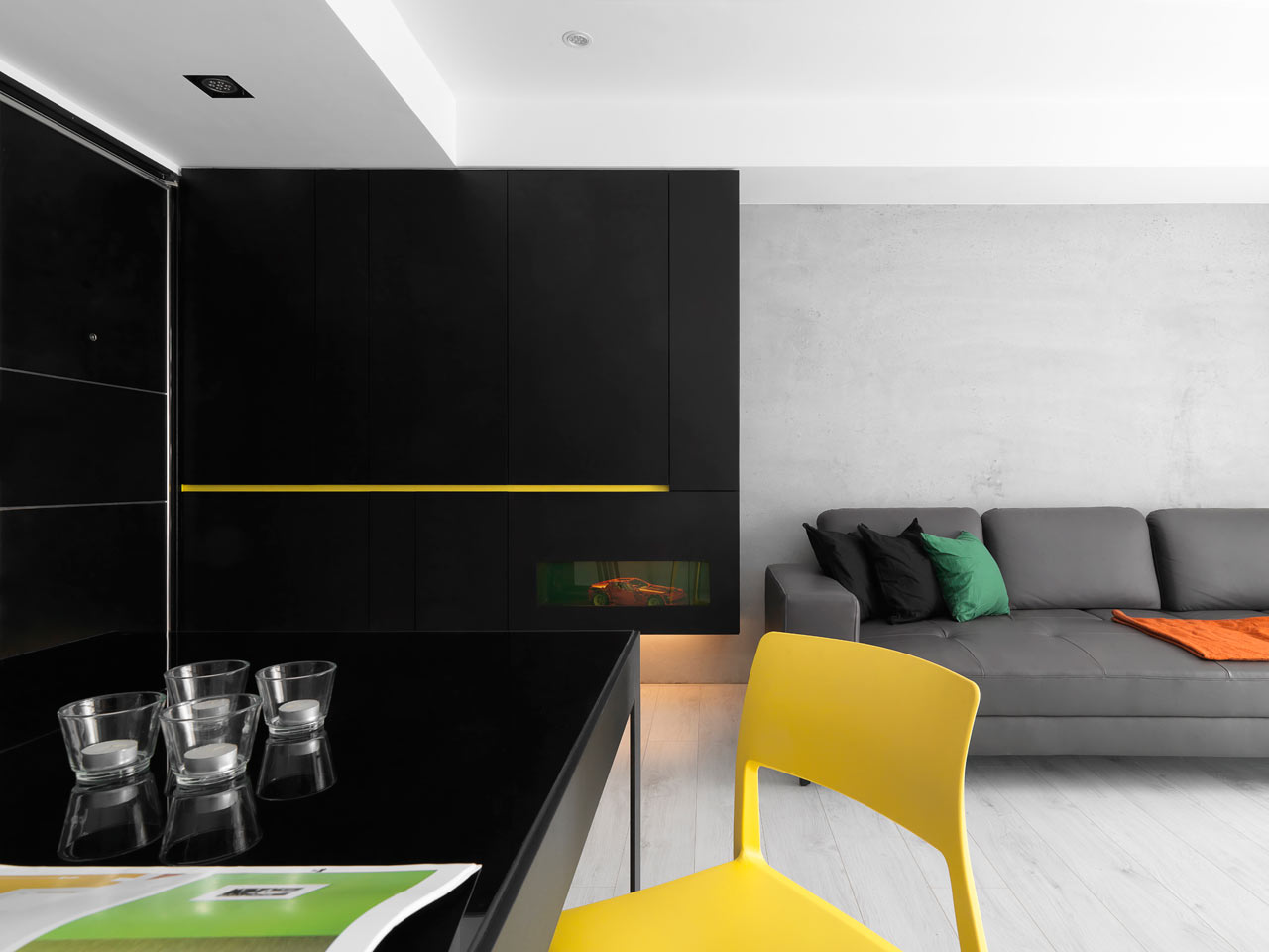 Black And White Minimalist Apartment With Pops Of Yellow