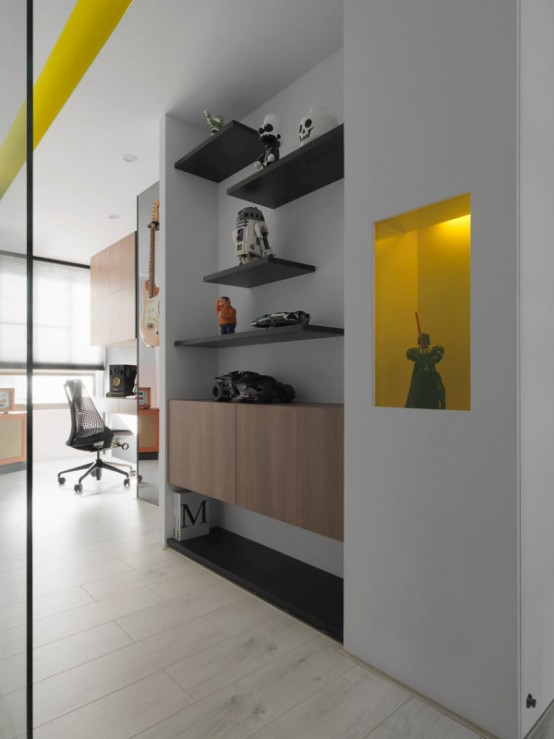 Black And White Minimalist Apartment With Pops Of Yellow - DigsDigs