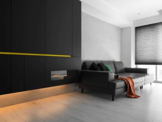 terrific black white minimalist apartment   Black And White Minimalist Apartment With Pops Of Yellow ...