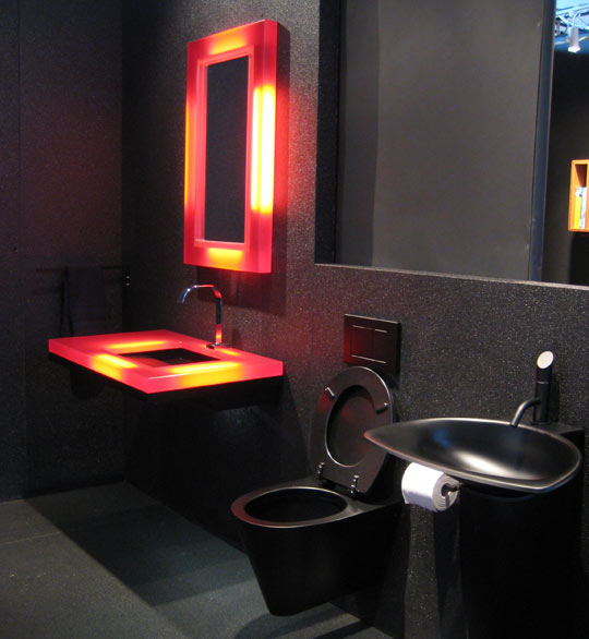 19 almost pure black bathroom design ideas digsdigs - Bathroom decorating ideas black white and red ...