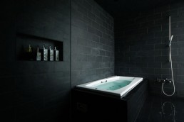 black bathroom japanese house design