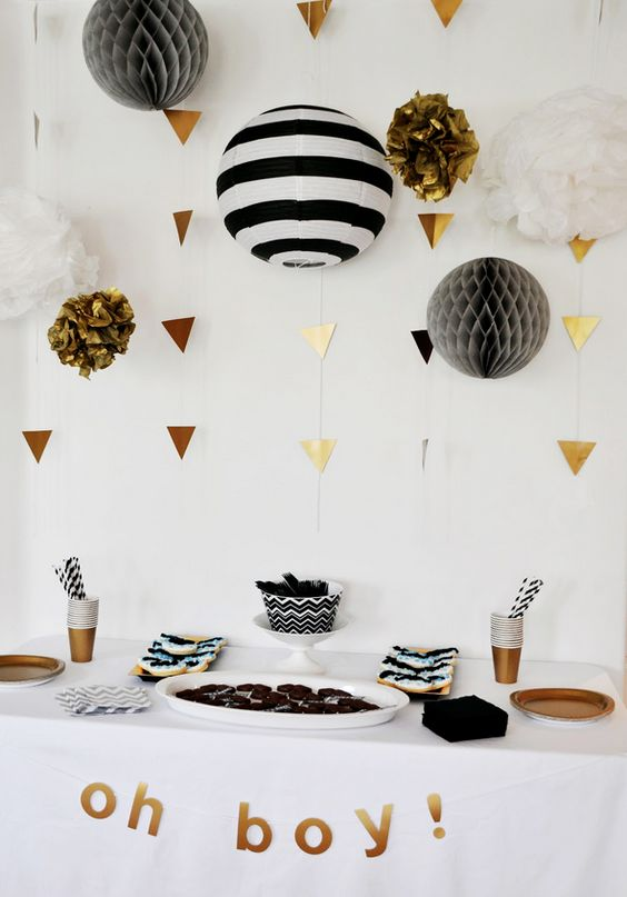 black, white and copper for a modern baby shower