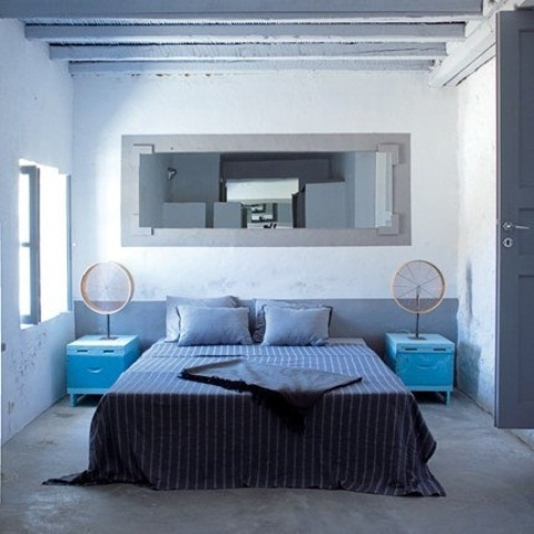 Blue and turquoise accents in bedroom designs 39 stylish for Chambre a coucher bleu turquoise