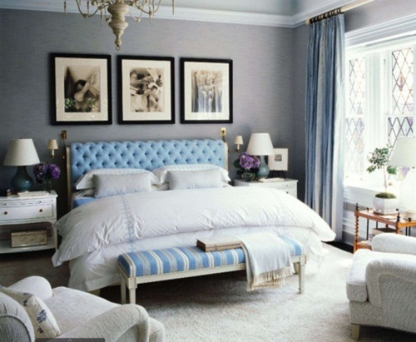 Blue and turquoise accents in bedroom designs 39 stylish for Blue master bedroom ideas