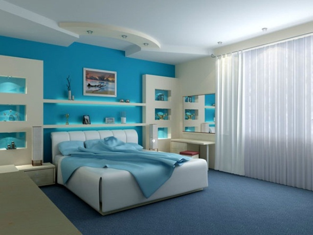 Blue and turquoise accents in bedroom designs 39 stylish for Aquamarine bedroom ideas
