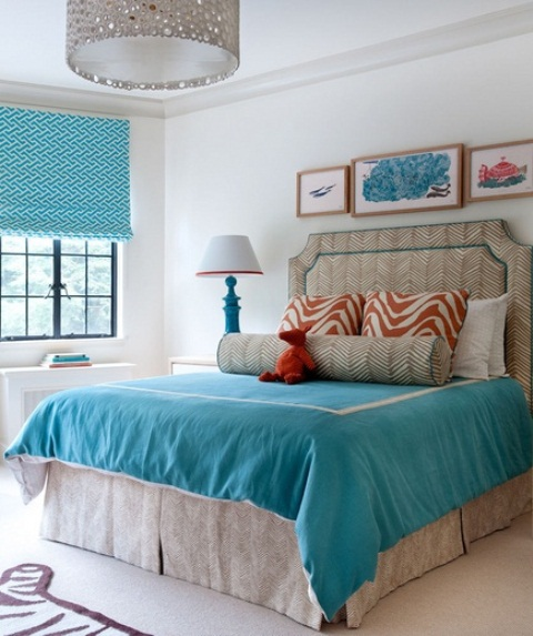 Blue and turquoise accents in bedroom designs 39 stylish for Aqua bedroom ideas