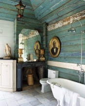 turquoise bathroom design in shabby style