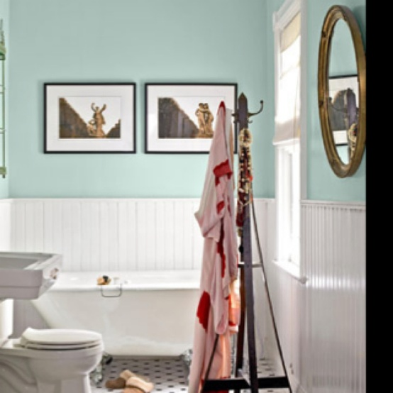 walls done in aqua paint and white beadboards is a cool seaside-inspired idea