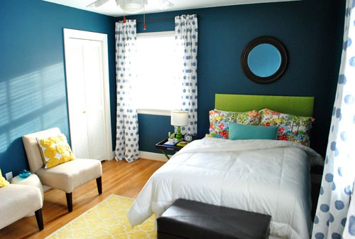 Blue Bedroom With Colorful Accents